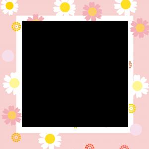 กรอบรูปการ์ตูน ดอกไม้สีชมพู น่ารัก