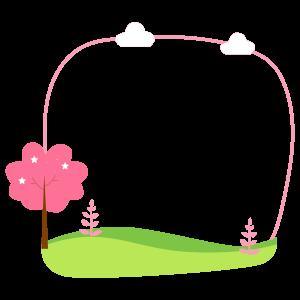 กรอบรูปการ์ตูน ต้นไม้สีชมพู