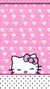 พื้นหลังคิตตี้ รูปหัวใจ สีชมพู