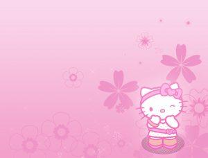 ภาพ พื้นหลังคิตตี้ แนวนอน พื้นหลังดอกไม้สีชมพู
